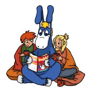 Saku, Donkki ja Ruut lukevat Donkki-lehteä ja juovat kaakaota.