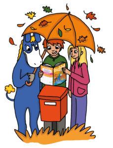 Saku, Ruut ja Donkki lukee lehteä.