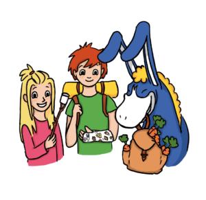 Ruut syö vaahtokarkkia, Sakulla on käsi paketissa ja Donkilla reppu täynnä porkkanoita.